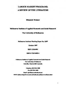 labour market programs: a review of the literature - CiteSeerX
