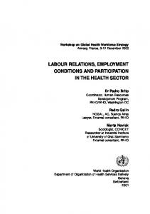 Labour Relations, Employment Conditions and Participation