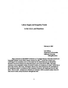 Labour Supply and Inequality Trends in the USA and ... - CiteSeerX