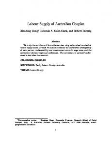 Labour Supply of Australian Couples - Melbourne Institute