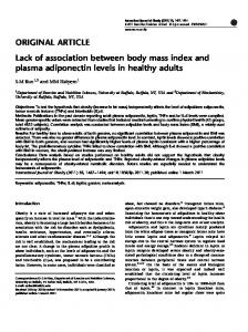 Lack of association between body mass index and plasma ... - Nature