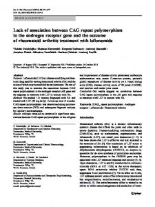 Lack of association between CAG repeat polymorphism in the ...