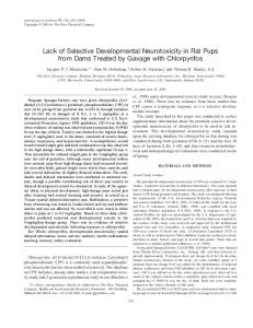 Lack of Selective Developmental Neurotoxicity in Rat Pups from Dams ...