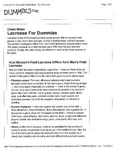 Lacrosse for Dummies Cheat Sheet - Hickman Lacrosse Club
