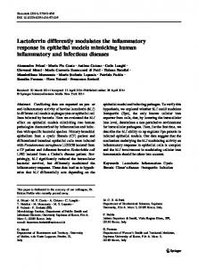 Lactoferrin differently modulates the inflammatory ... - Springer Link