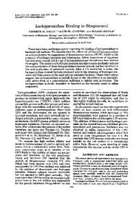 Lactoperoxidase Binding to Streptococci - Infection and Immunity