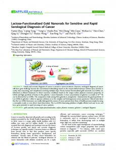 Lactose-Functionalized Gold Nanorods for ... - ACS Publications