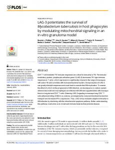 LAG-3 potentiates the survival of Mycobacterium tuberculosis ... - PLOS