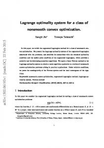 Lagrange optimality system for a class of nonsmooth convex ...