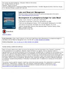Lake and Reservoir Management Development of a ...