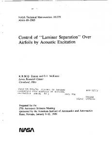 Laminar Separation - NASA Technical Reports Server (NTRS)