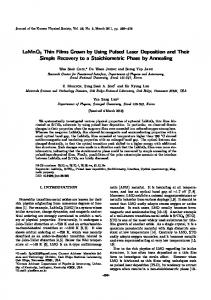 LaMnO3 Thin Films Grown by Using Pulsed Laser Deposition and ...