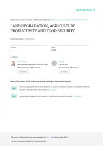 land degradation, agriculture productivity and food