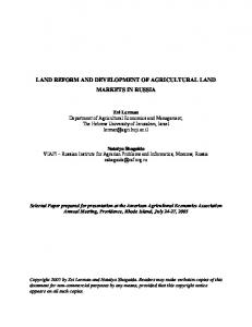 land reform and development of agricultural land ... - AgEcon Search