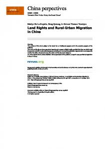Land Rights and Rural-Urban Migration in China | China Perspectives