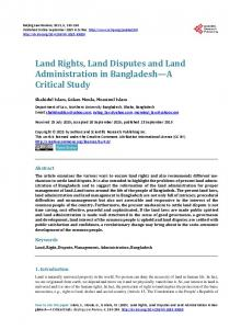 Land Rights, Land Disputes and Land Administration in Bangladesh ...