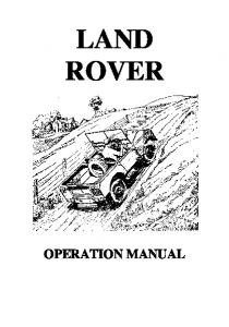 Land-Rover Operation Manual - Part 1/2