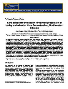 Land suitability evaluation for rainfed production of ...