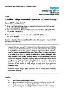 Land Use Change and Global Adaptations to Climate Change - MDPI
