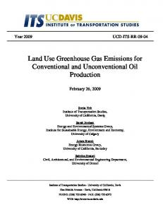 Land Use Greenhouse Gas Emissions for ...