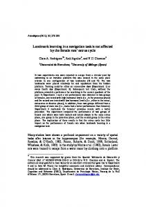 Landmark learning in a navigation task is not affected by the ... - UV