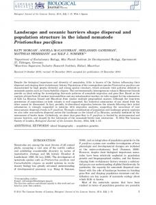 Landscape and oceanic barriers shape dispersal and ... - Ralf Sommer