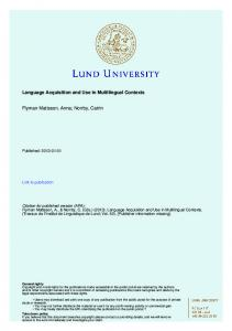 Language Acquisition and Use in Multilingual ... - LU Research Portal