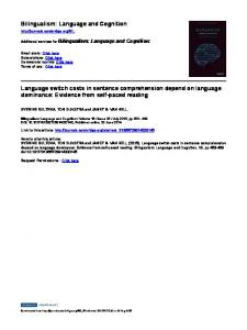 Language and Cognition Language switch costs in sentence ...