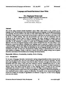 Language and Donald Barthelme's Snow White - International Journal ...