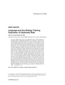 Language and zoo biology training outcomes: A ... - Wiley Online Library