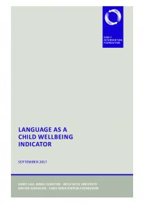 language as a child wellbeing indicator - Early Intervention Foundation