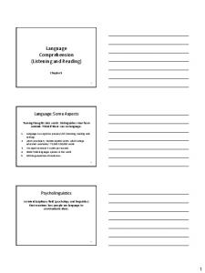 Language Comprehension (Listening and Reading)