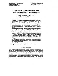 language compression and pseudorandom generators - Springer Link