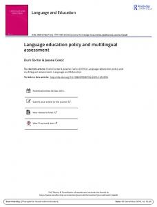 Language education policy and multilingual ...