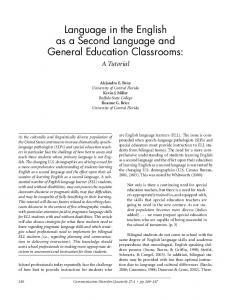 Language in the English as a Second Language and