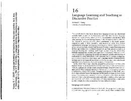 Language Learning and Teaching as Discursive