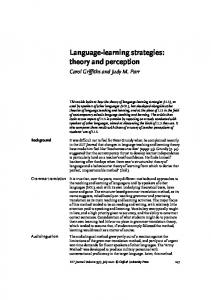 Language-learning strategies: theory and perception