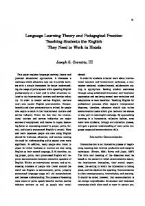 Language Learning Theory and Pedagogical Practice: Teaching ...