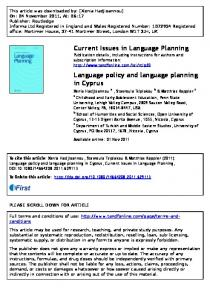 Language policy and language planning in Cyprus