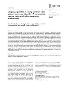 Language profiles in young children with autism