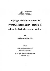 Language Teacher Education for Primary School English Teachers in ...