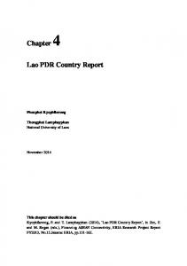 Lao PDR Country Report