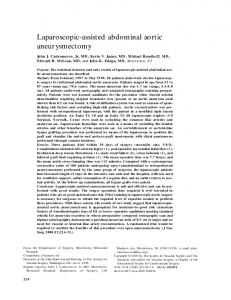 Laparoscopic-assisted abdominal aortic aneurysmectomy - Journal of ...