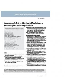 Laparoscopic Entry - Journal of Obstetrics and Gynaecology Canada