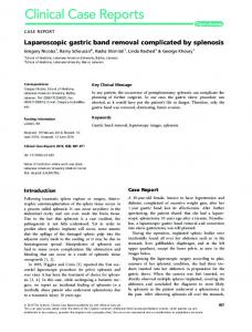 Laparoscopic gastric band removal complicated by ... - Semantic Scholar