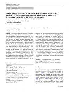 Larval salinity tolerance of the South American salt-marsh crab ...