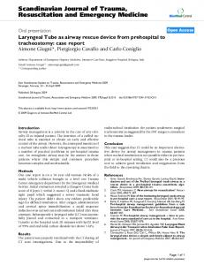 Laryngeal Tube as airway rescue device from prehospital to