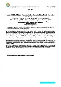 Laser Ablated Silver Nanoparticles: Potential ...