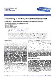 Laser annealing of thin film polycrystalline silicon ... - EPJ Photovoltaics
