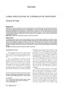laser applications in conservative dentistry - Timisoara Medical ...